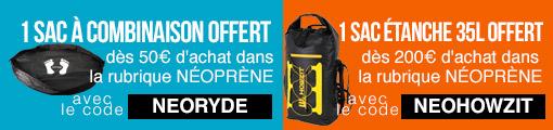 1 sac à combinaison ou 1 sac étanche offert dès 50€ d'achat néoprène