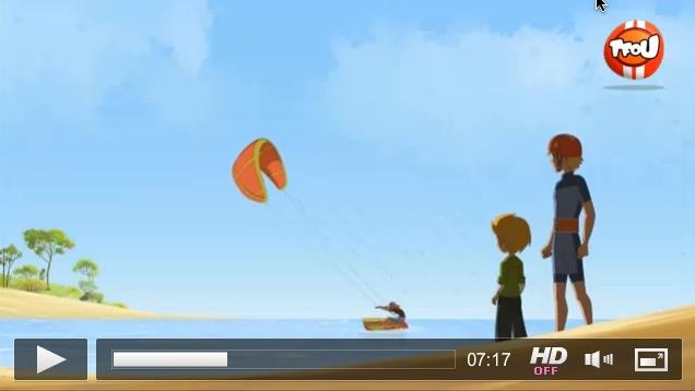Du kite dans un dessin animé à la téloche