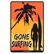 PLAQUE ALU DECO GONE SURFING LADY