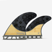 DERIVES QUAD FUTURES FINS RASTA BAMBOO CARBON