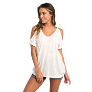 T-SHIRT RIP CURL SALTY COLD SHOULDER FEMME BLANC
