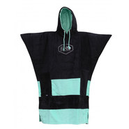 PONCHO ALL-IN V NOIR/TURQUOISE