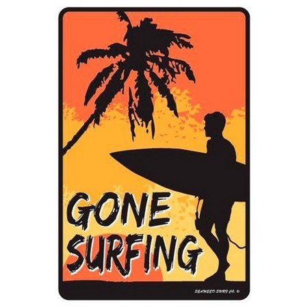 PLAQUE ALU DECO GONE SURFING BOY